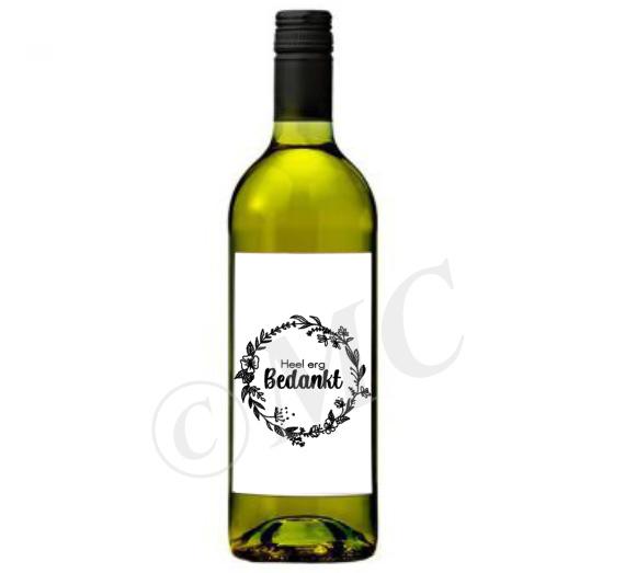 Wijnfles etiket: Heel erg bedankt
