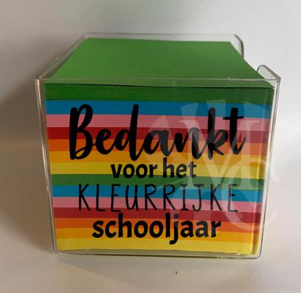 Memo blaadjes  - Bedankt voor het kleurrijke schooljaar