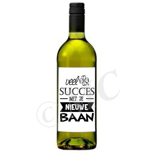 Wijnfles etiket: Veel succes met je nieuwe baan