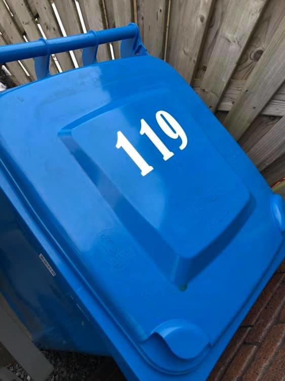 Container / kliko sticker nummer