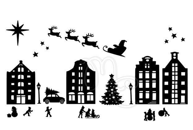 Statisch - Kerst huisjes sneeuw