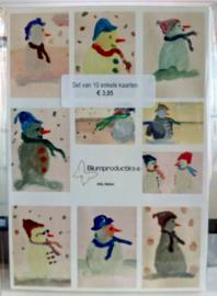 Sneeuwpoppen Setje van 10 enkele kaarten