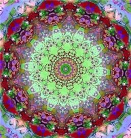 Mandala rood met groen Dubbele kaart met enveloppe