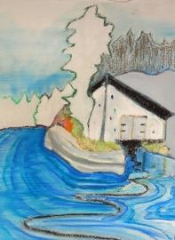 Boathouse Gjereseter  (S5)  Ingelijst op doek 40 bij 20 cm