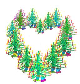 Hartje van kerstbomen Dubbele kaart met enveloppe