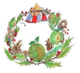Kerstkrans met appeltjes en speculaasringen Dubbele kaart met enveloppe