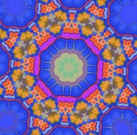 Mandala oranje met blauw Dubbele kaart met enveloppe