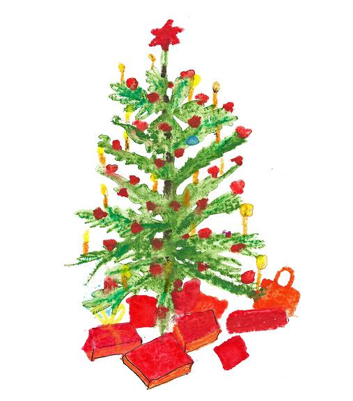 Kerstboom met ster Dubbele kaart met enveloppe