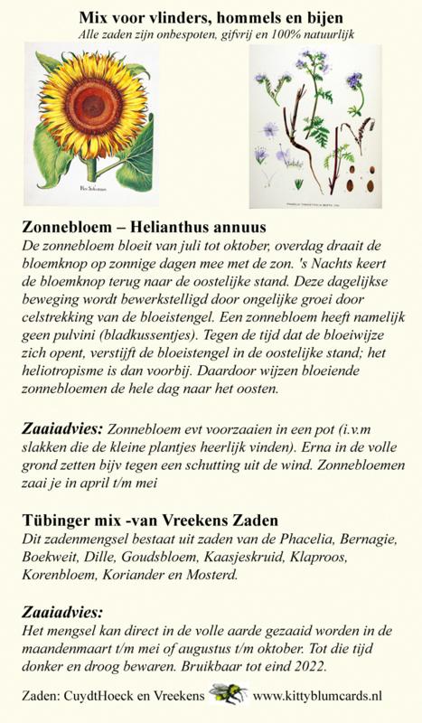 Zakje zaden voor bijen en vlinders zonnebloemen en tübergermix,