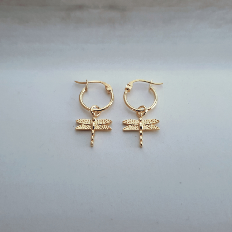 Tiny Dragonfly Earring - 925 Gold
