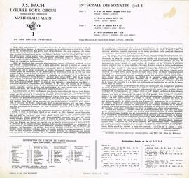 j.s.bach - sonates pour orgue marie claire alain  stu 70030
