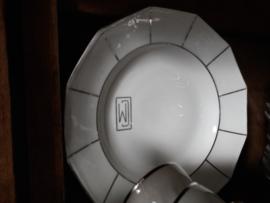 9 dinerborden van het porseleinen servies Limoges (gemerkt)