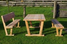 Douglas tuinset industriële tafel (Compleet set)