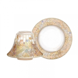 Yankee Candle Gold & Pearl Crackle Shade & Tray large