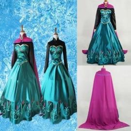 Frozen jurk prinses Elsa satijn met cape 34/44