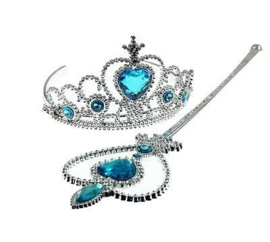 Frozen Tiara en Staf blauw