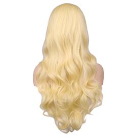 Blonde Pruik, lang met krul