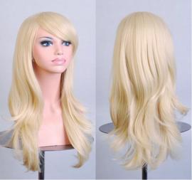 Blonde Pruik, met lang, golvend haar