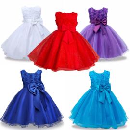 Feest jurk diep blauw(strik-glim-tule-gaas)  mt 104-110