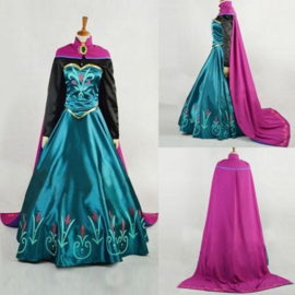 MAAT 42-44  Volwassen Frozen jurk prinses Elsa satijn prs. Cape (B-keus)