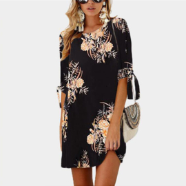 Jurk Tuniek A Lijn in Boho style 'Black  (Intro Aktie Plus Size 40-50
