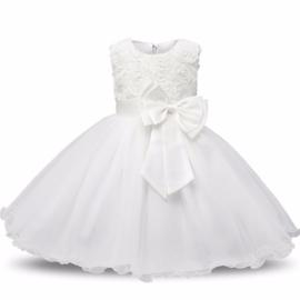 Feest jurk Wit (strik-glim-tule-gaas)  mt 98-104