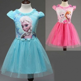 Frozen jurk prinses Elsa Diamond (Rose + Blauw)