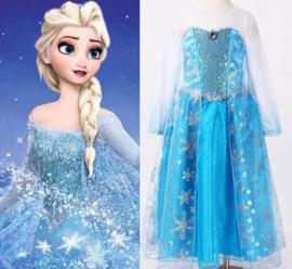 Maat 140-146   Frozen jurk prinses Elsa Zilver (B keus)
