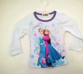 Frozen longsleeve shirt wit/blauwpaars (mt. 86-92)