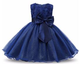 Feest jurk Blauw  (strik-glim-tule-gaas)  mt  98-104