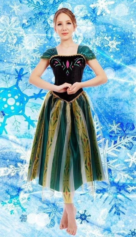Frozen jurk prinses Anna groen mt 32/46