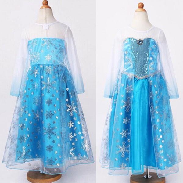 Frozen jurk prinses Elsa Zilver -mt 134-146