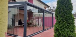 tuinkamer : antraciet grijs / gelaagd glas dak en schuifwanden