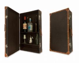 Donkerbruine Vintage koffer als kabinet