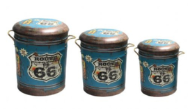 Set van 3 metalen poefen Route 66