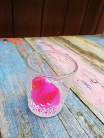 Kaarsje Flamingo fel rose in glas