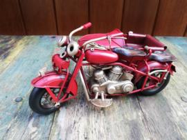 Motorfiets met zijspan rood