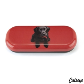 Brillenkoker Black Lab on Red