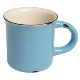 Emaille stijl blauwe mok