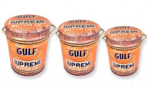 Set van 3 metalen poefen Gulf Oil