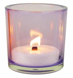 XL Glas lila inclusief kaars vulling outdoor