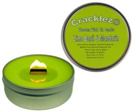 Cracklez® Knetter Houten Lont Geurkaars in blik Lime Basil & Mandarin. Designer Parfum Geinspireerd. Lime.
