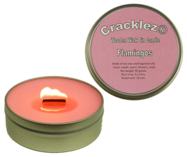 Cracklez® Knetterende Houten Lont Geur Kaars in blik Flamingos. Ambient. Roze.