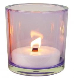 XL Glas lila inclusief kaars vulling indoor