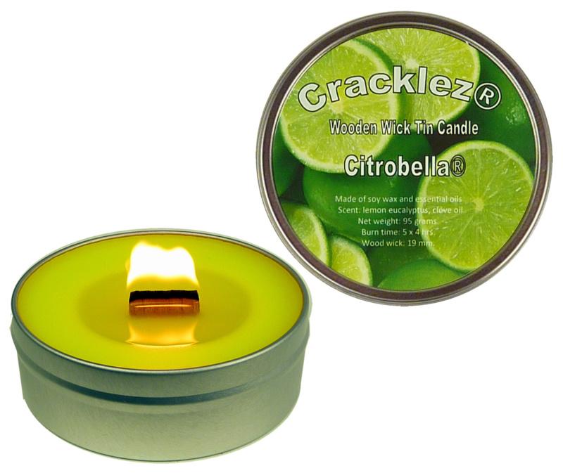 Cracklez® Knetter Houten Lont Citronella Kaars in blik. Lime. Aromatherapie.