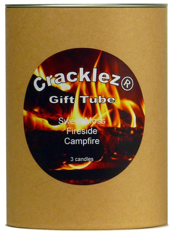 Cracklez® Geschenkset bruin met 3 knetter ongeparfumeerde houtlont kaarsen naar keuze