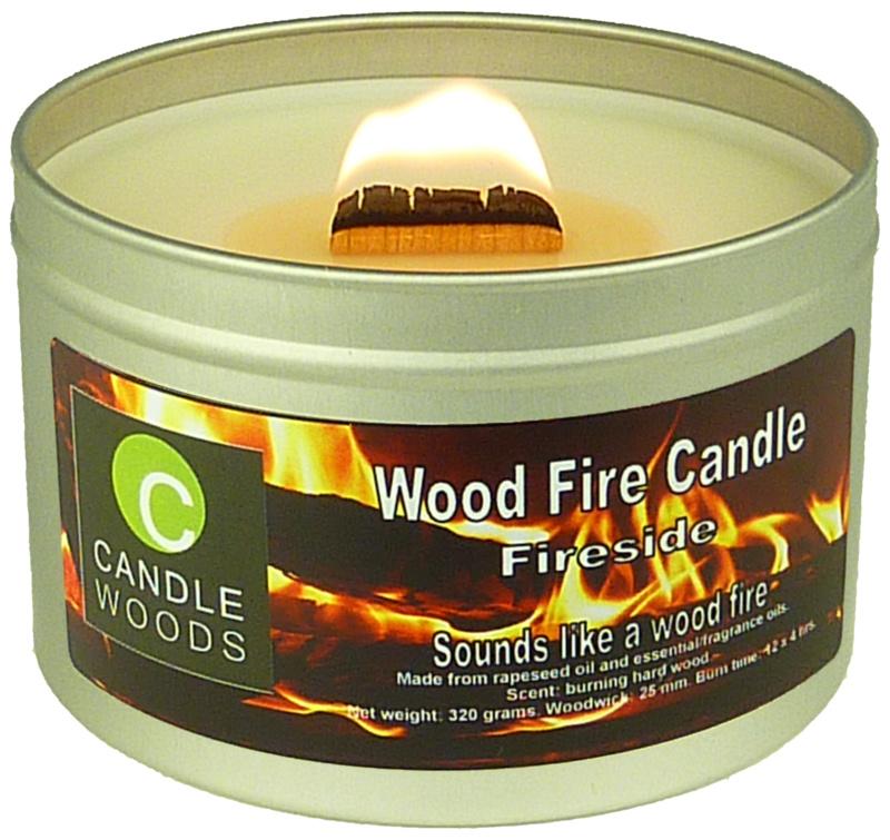 Candle Woods grote knetterende houtvuur geur kaars Fireside in blik met deksel en houtlont. Haardvuur geur.