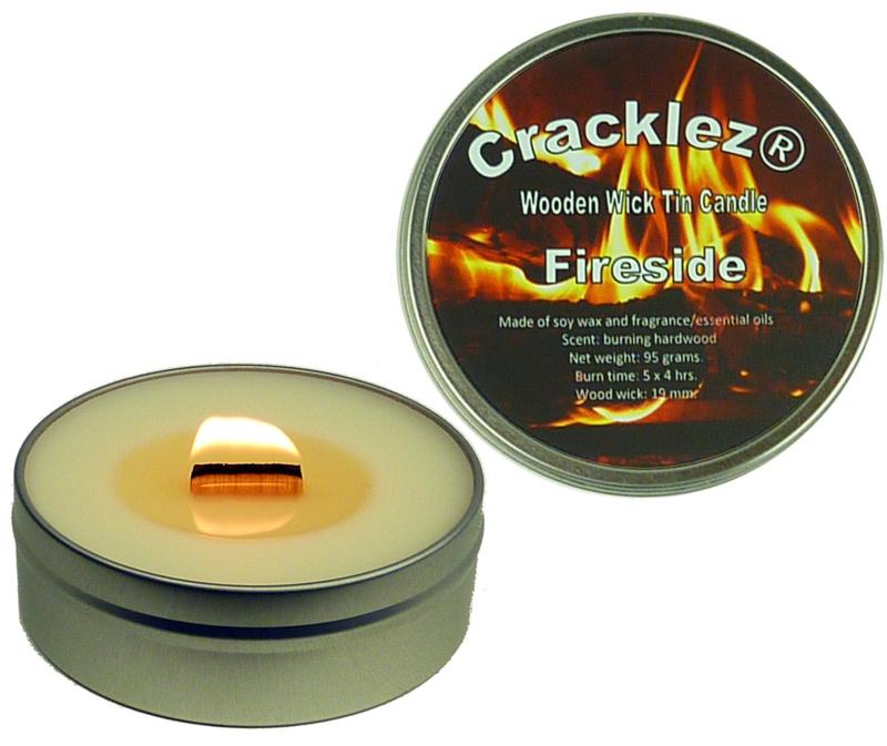 Cracklez® Knetter Houten Lont Geur Kaars in blik Fireside. Loofhout Kampvuur Geur. Ongekleurd.