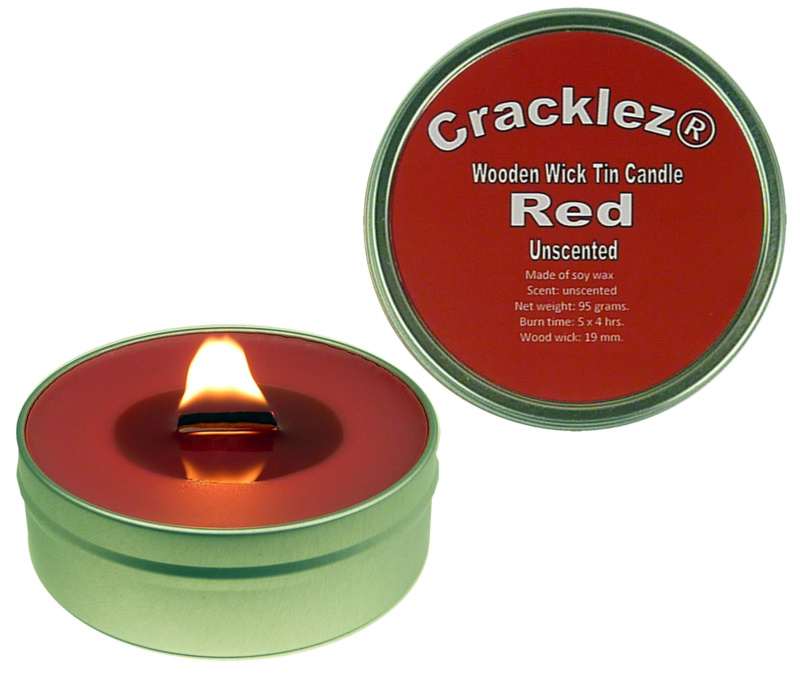 Cracklez® Knetter Houten Lont Kaars in blik Red. Geurloos. Rood.