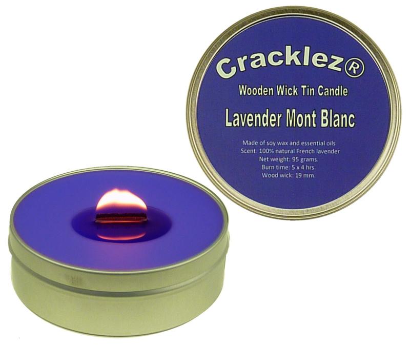 Cracklez® Knetter Houten Lont Geur Kaars in blik Lavendel Mont Blanc. Blauw-violet. Aromatherapie.